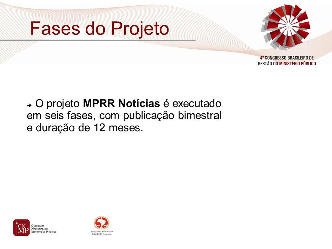 O projeto MPRR Notícias é executado em seis fases, com publicação bimestral e duração de 12 meses.