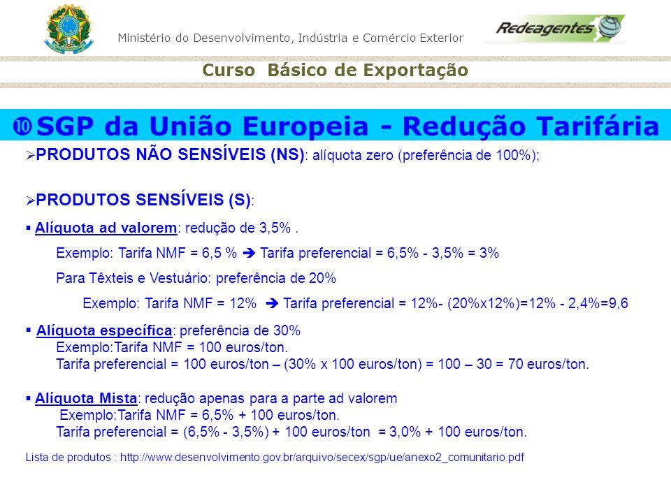 Ministério do Desenvolvimento, Indústria e Comércio Exterior Curso Básico de Exportação SGP da União Europeia - Redução Tarifária PRODUTOS NÃO SENSÍVE