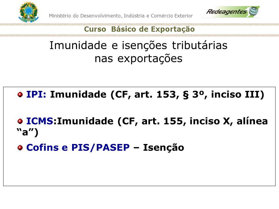 Ministério do Desenvolvimento, Indústria e Comércio Exterior Curso Básico de Exportação Imunidade e isenções tributárias nas exportações IPI: Imunidad