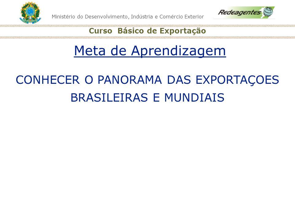Ministério do Desenvolvimento, Indústria e Comércio Exterior Curso Básico de Exportação Meta de Aprendizagem CONHECER O PANORAMA DAS EXPORTAÇOES BRASI
