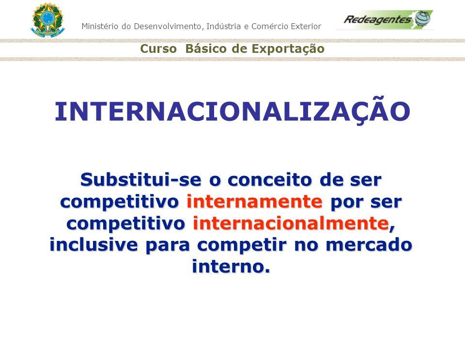 Ministério do Desenvolvimento, Indústria e Comércio Exterior Curso Básico de Exportação Substitui-se o conceito de ser competitivo internamente por se