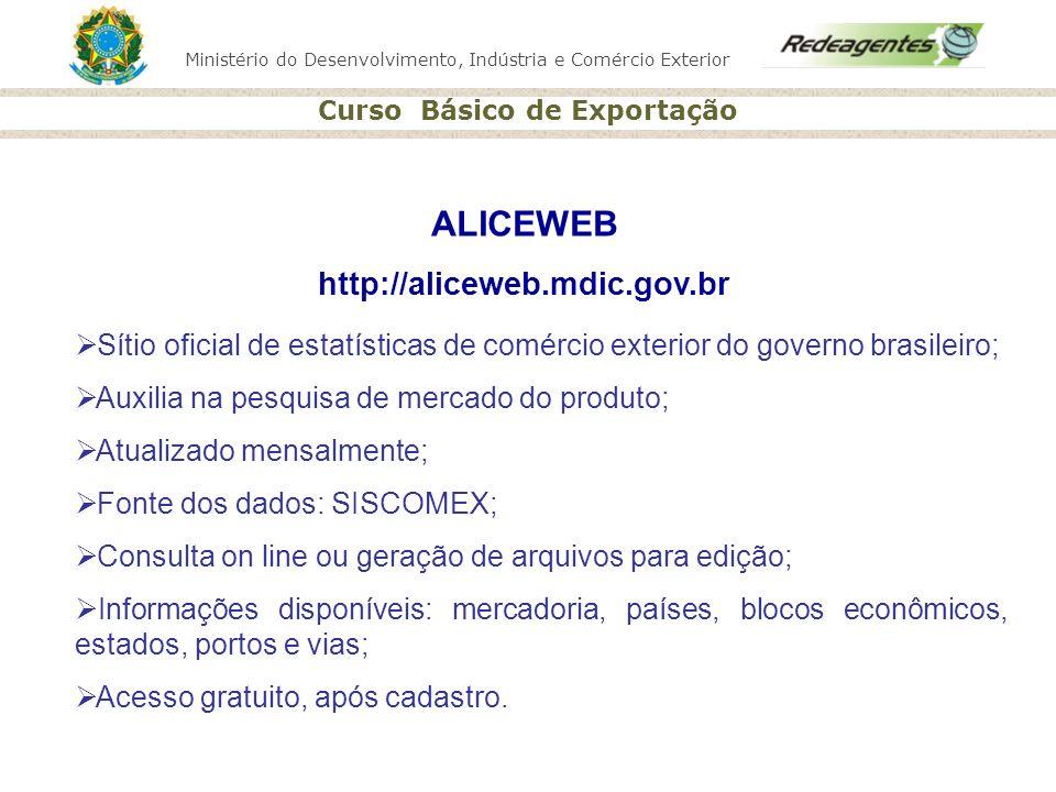 Ministério do Desenvolvimento, Indústria e Comércio Exterior Curso Básico de Exportação ALICEWEB http://aliceweb.mdic.gov.br Sítio oficial de estatíst