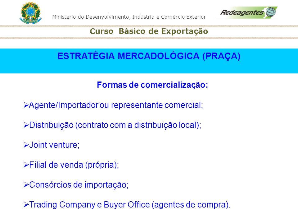 Ministério do Desenvolvimento, Indústria e Comércio Exterior Curso Básico de Exportação Formas de comercialização: Agente/Importador ou representante