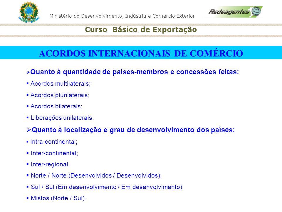 Ministério do Desenvolvimento, Indústria e Comércio Exterior Curso Básico de Exportação Quanto à quantidade de países-membros e concessões feitas: Aco