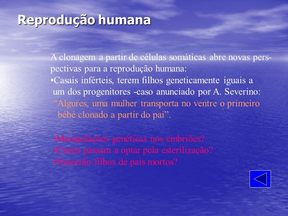 Reprodução humana A clonagem a partir de células somáticas abre novas pers- pectivas para a reprodução humana: Casais inférteis, terem filhos genetica