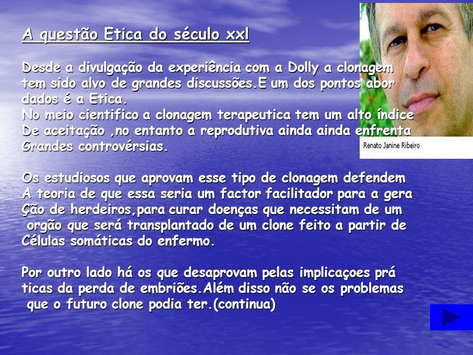 A questão Etica do século xxl Desde a divulgação da experiência com a Dolly a clonagem tem sido alvo de grandes discussões.E um dos pontos abor dados