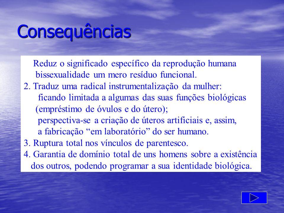 Consequências 1.Reduz o significado específico da reprodução humana bissexualidade um mero resíduo funcional. 2. Traduz uma radical instrumentalização