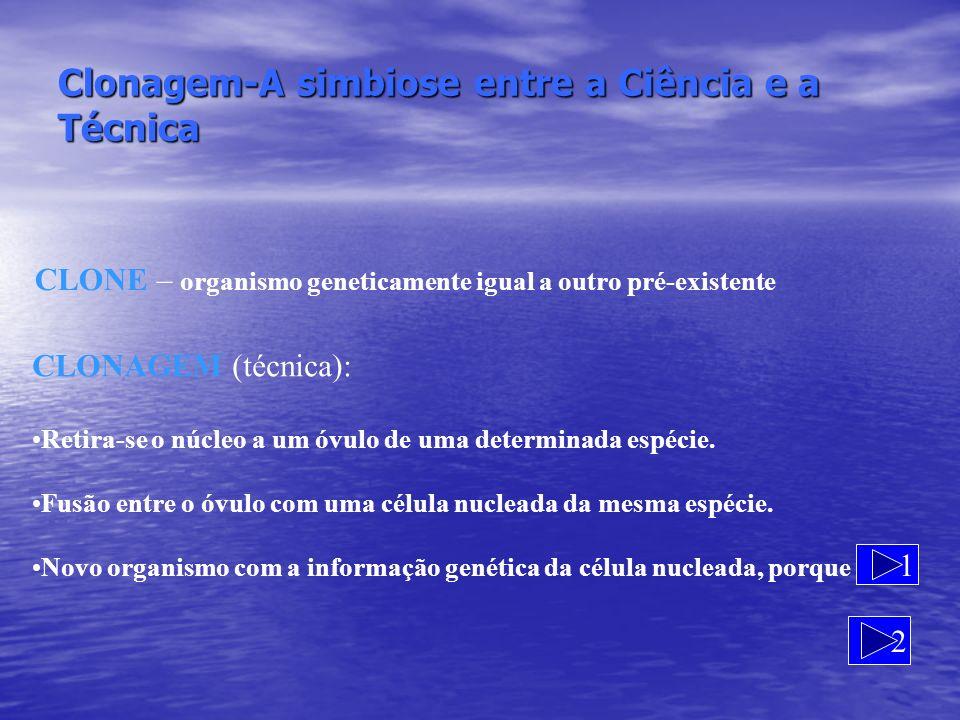Clonagem-A simbiose entre a Ciência e a Técnica CLONE – organismo geneticamente igual a outro pré-existente 1 CLONAGEM (técnica): Retira-se o núcleo a