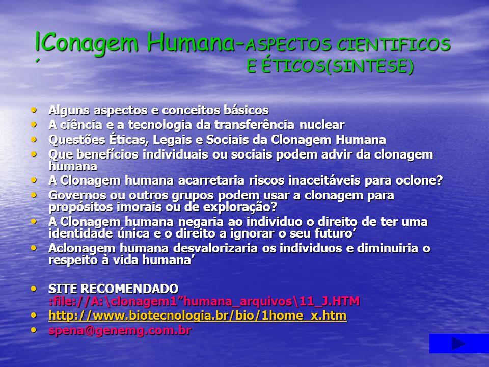 lConagem Humana- ASPECTOS CIENTIFICOS ´ E ÉTICOS(SINTESE) Alguns aspectos e conceitos básicos A ciência e a tecnologia da transferência nuclear Questõ