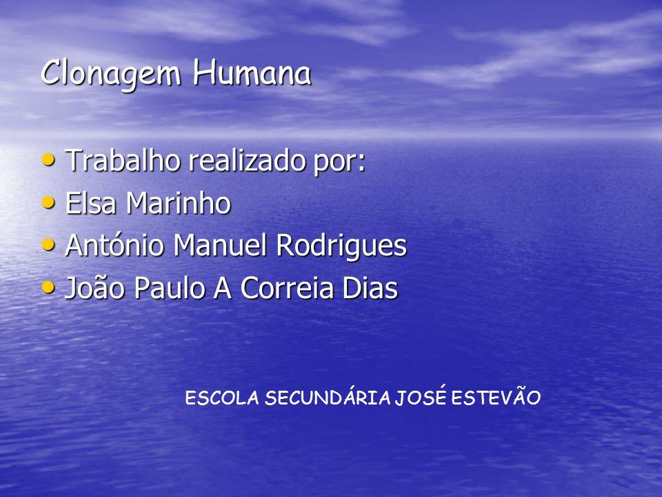 Clonagem Humana Trabalho realizado por: Trabalho realizado por: Elsa Marinho Elsa Marinho António Manuel Rodrigues António Manuel Rodrigues João Paulo