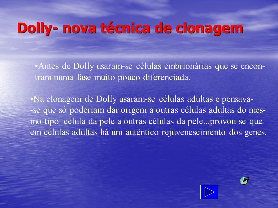 Dolly- nova técnica de clonagem Antes de Dolly usaram-se células embrionárias que se encon- tram numa fase muito pouco diferenciada. Na clonagem de Do