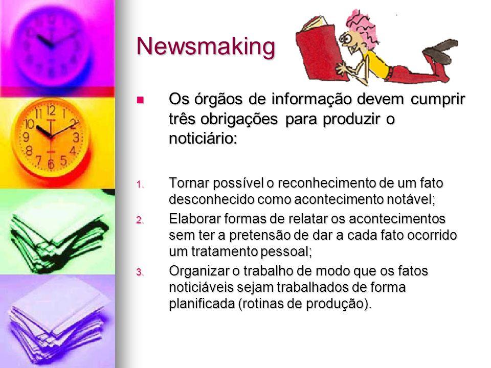 Newsmaking Os órgãos de informação devem cumprir três obrigações para produzir o noticiário: Os órgãos de informação devem cumprir três obrigações par