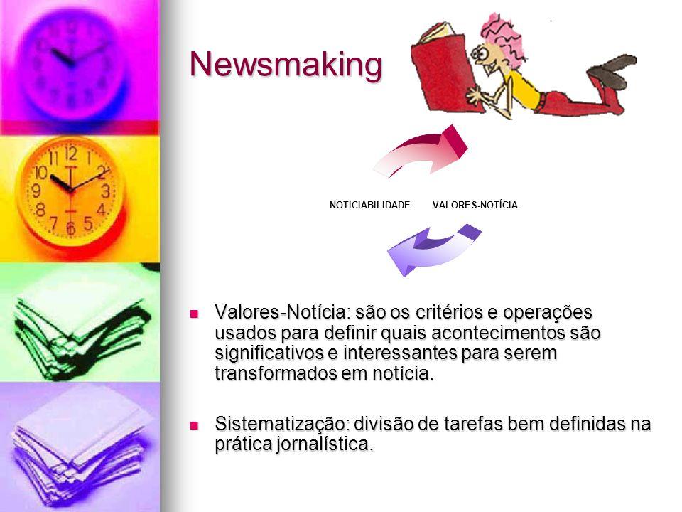 Newsmaking Valores-Notícia: são os critérios e operações usados para definir quais acontecimentos são significativos e interessantes para serem transf