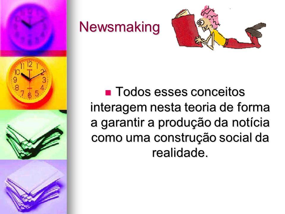 Newsmaking Todos esses conceitos interagem nesta teoria de forma a garantir a produção da notícia como uma construção social da realidade. Todos esses