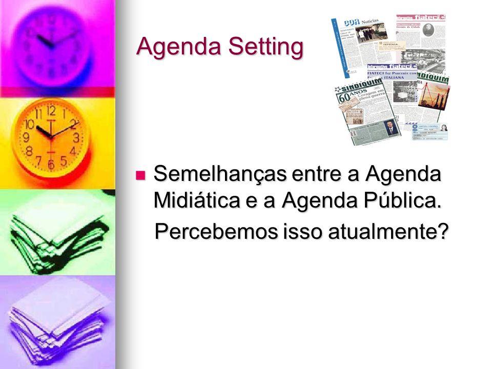 Agenda Setting Semelhanças entre a Agenda Midiática e a Agenda Pública. Semelhanças entre a Agenda Midiática e a Agenda Pública. Percebemos isso atual