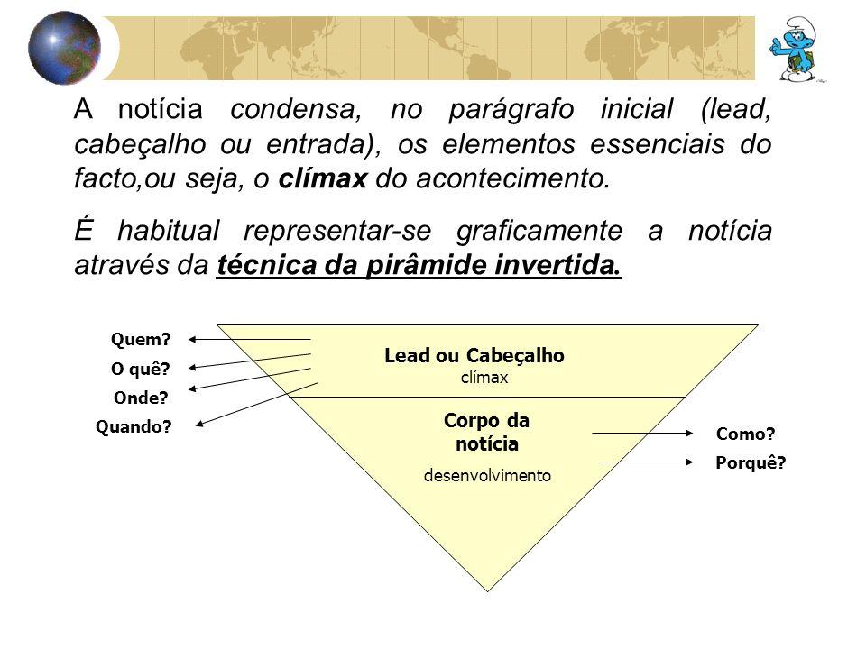 Estrutura da Notícia Título – deve ser curto e preciso referindo o facto principal (obrigatório); Lead (Parágrafo Guia) – o primeiro parágrafo da notícia funciona como um resumo.