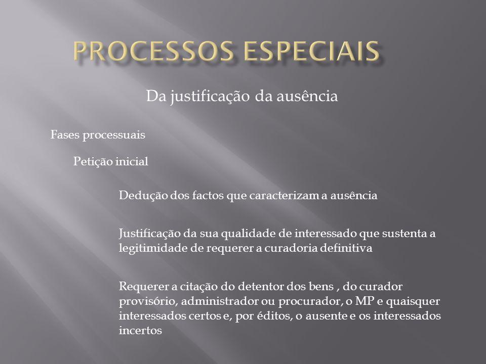 Da justificação da ausência Fases processuais Petição inicial Dedução dos factos que caracterizam a ausência Justificação da sua qualidade de interess