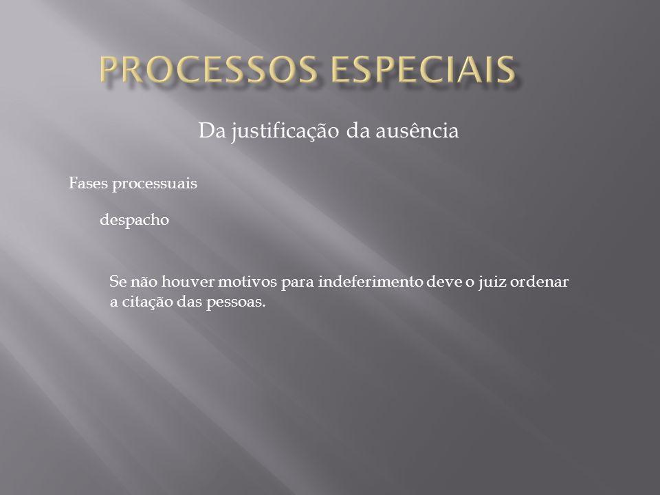 Da justificação da ausência Fases processuais A citação segue os termos habituais.