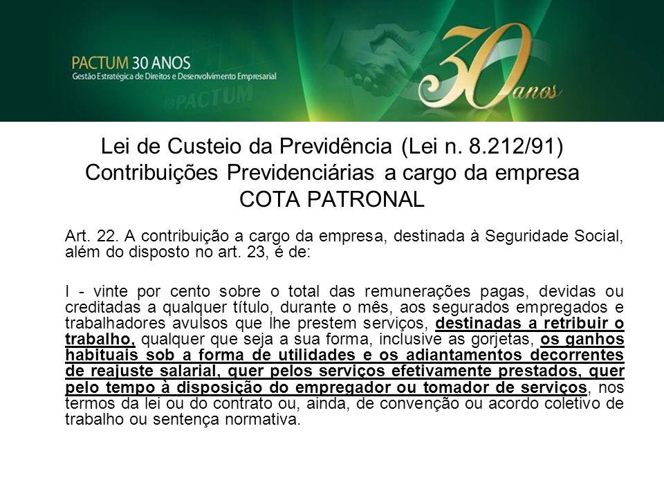 Lei de Custeio da Previdência (Lei n. 8.212/91) Contribuições Previdenciárias a cargo da empresa COTA PATRONAL Art. 22. A contribuição a cargo da empr
