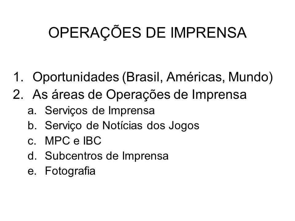 OPERAÇÕES DE IMPRENSA 1.Oportunidades (Brasil, Américas, Mundo) 2.As áreas de Operações de Imprensa a.Serviços de Imprensa b.Serviço de Notícias dos J