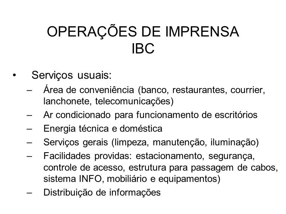 OPERAÇÕES DE IMPRENSA IBC Serviços usuais: –Área de conveniência (banco, restaurantes, courrier, lanchonete, telecomunicações) –Ar condicionado para f