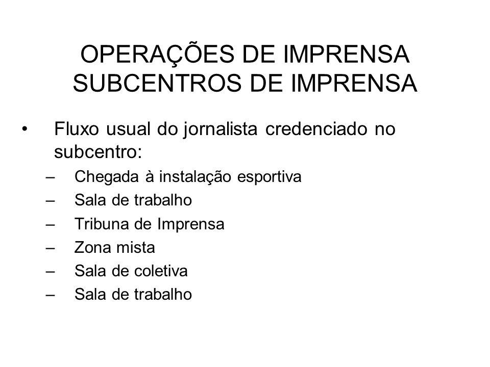 OPERAÇÕES DE IMPRENSA SUBCENTROS DE IMPRENSA Fluxo usual do jornalista credenciado no subcentro: –Chegada à instalação esportiva –Sala de trabalho –Tr