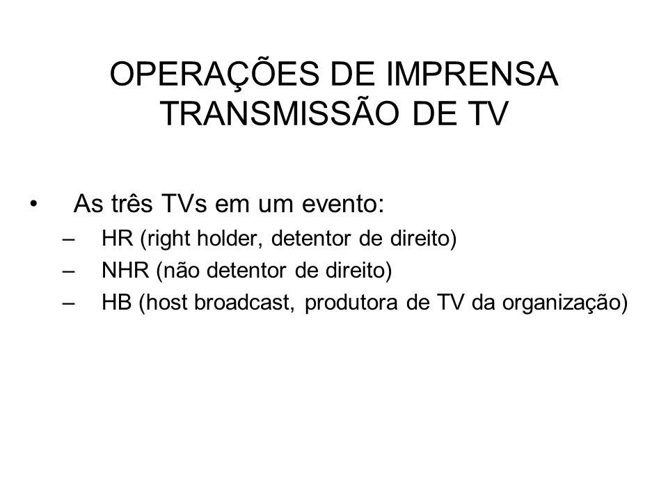 OPERAÇÕES DE IMPRENSA TRANSMISSÃO DE TV As três TVs em um evento: –HR (right holder, detentor de direito) –NHR (não detentor de direito) –HB (host bro