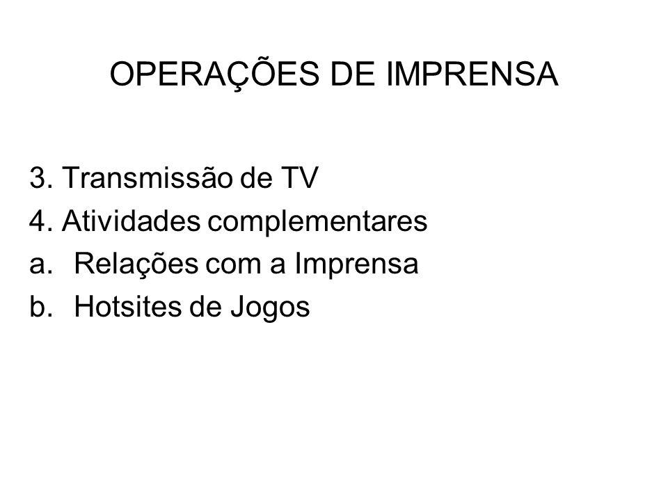 OPERAÇÕES DE IMPRENSA 3. Transmissão de TV 4. Atividades complementares a.Relações com a Imprensa b.Hotsites de Jogos