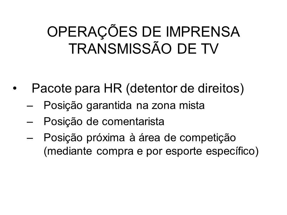 OPERAÇÕES DE IMPRENSA TRANSMISSÃO DE TV Pacote para HR (detentor de direitos) –Posição garantida na zona mista –Posição de comentarista –Posição próxi