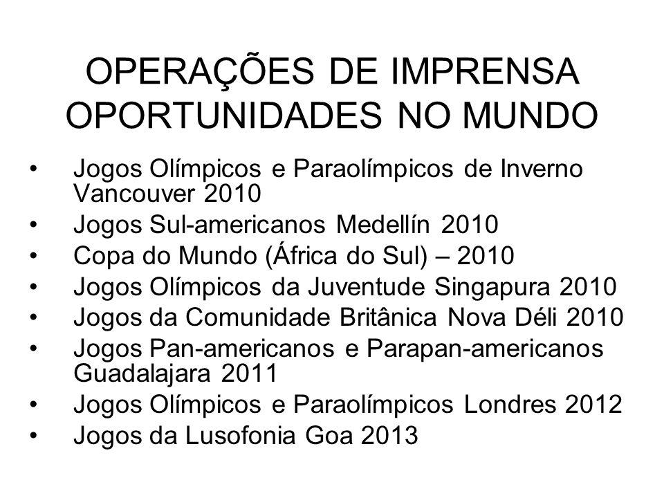 OPERAÇÕES DE IMPRENSA OPORTUNIDADES NO MUNDO Jogos Olímpicos e Paraolímpicos de Inverno Vancouver 2010 Jogos Sul-americanos Medellín 2010 Copa do Mund