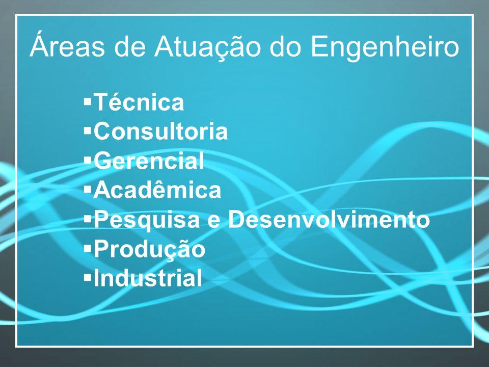 Áreas de Atuação do Engenheiro Técnica Consultoria Gerencial Acadêmica Pesquisa e Desenvolvimento Produção Industrial