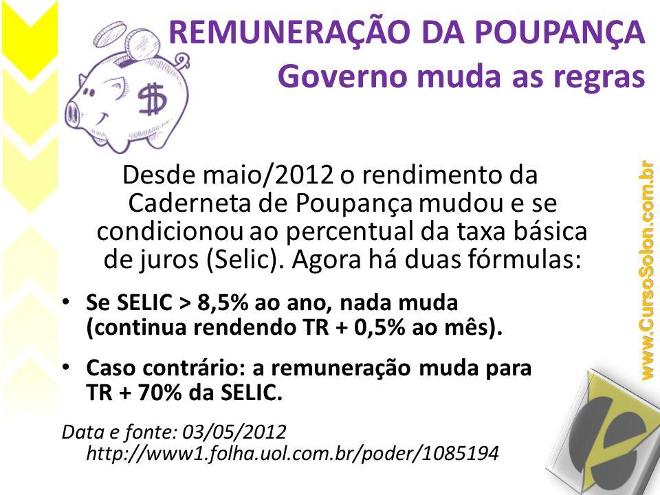 REMUNERAÇÃO DA POUPANÇA Governo muda as regras Desde maio/2012 o rendimento da Caderneta de Poupança mudou e se condicionou ao percentual da taxa bási