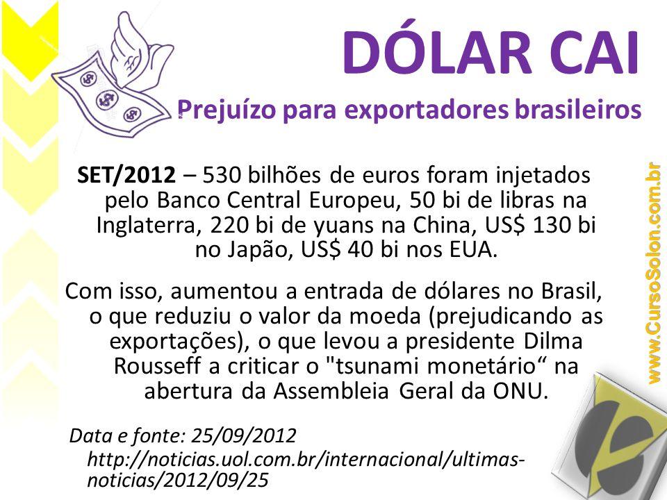 DÓLAR CAI Prejuízo para exportadores brasileiros SET/2012 – 530 bilhões de euros foram injetados pelo Banco Central Europeu, 50 bi de libras na Inglat