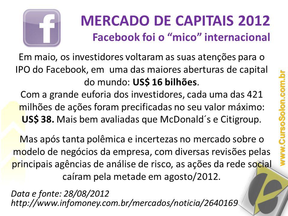 MERCADO DE CAPITAIS 2012 Facebook foi o mico internacional Em maio, os investidores voltaram as suas atenções para o IPO do Facebook, em uma das maior