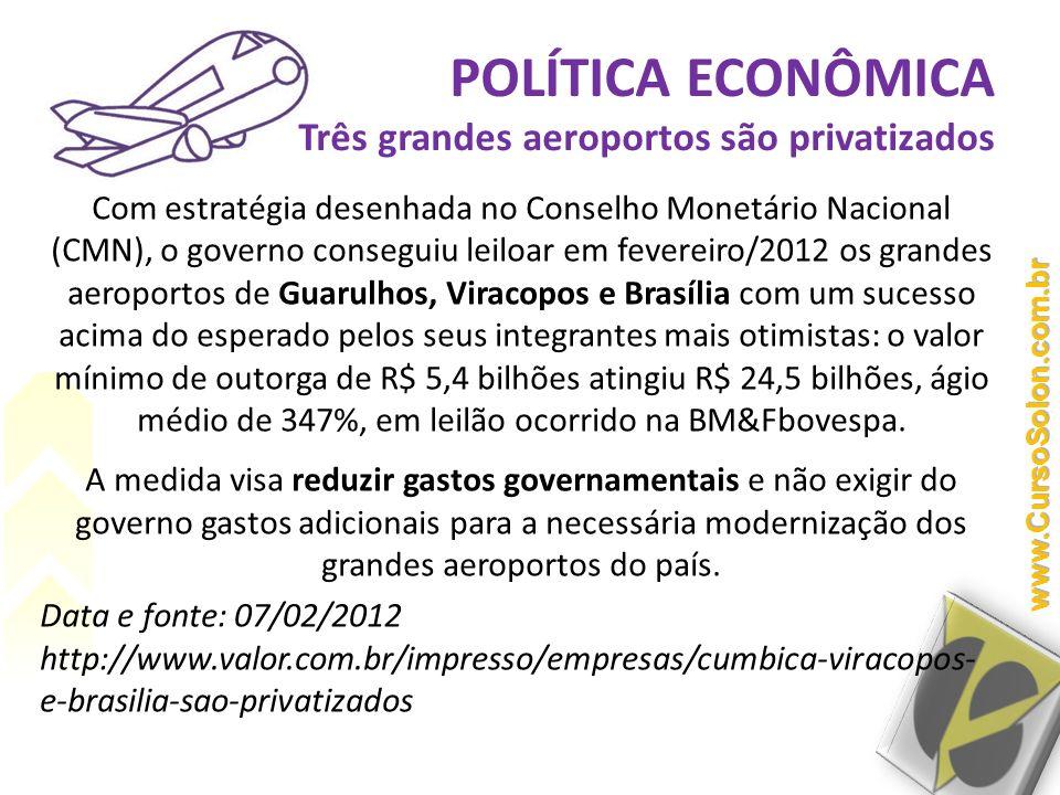 Com estratégia desenhada no Conselho Monetário Nacional (CMN), o governo conseguiu leiloar em fevereiro/2012 os grandes aeroportos de Guarulhos, Virac