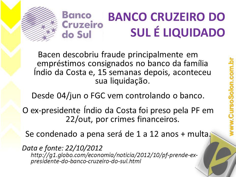 Bacen descobriu fraude principalmente em empréstimos consignados no banco da família Índio da Costa e, 15 semanas depois, aconteceu sua liquidação. De