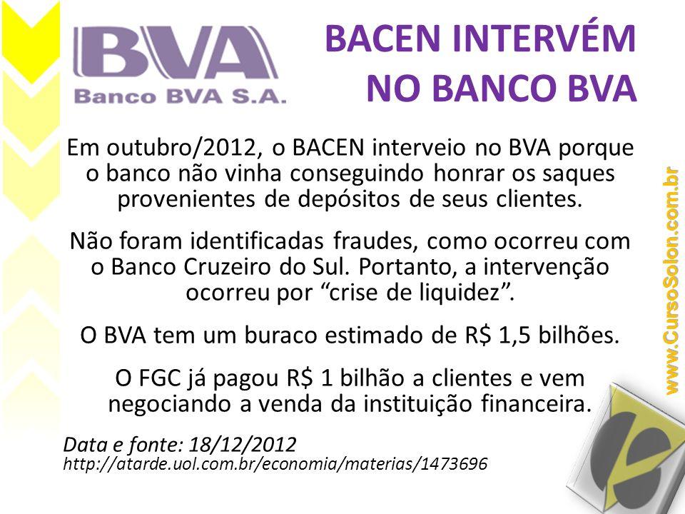 BACEN INTERVÉM NO BANCO BVA Em outubro/2012, o BACEN interveio no BVA porque o banco não vinha conseguindo honrar os saques provenientes de depósitos