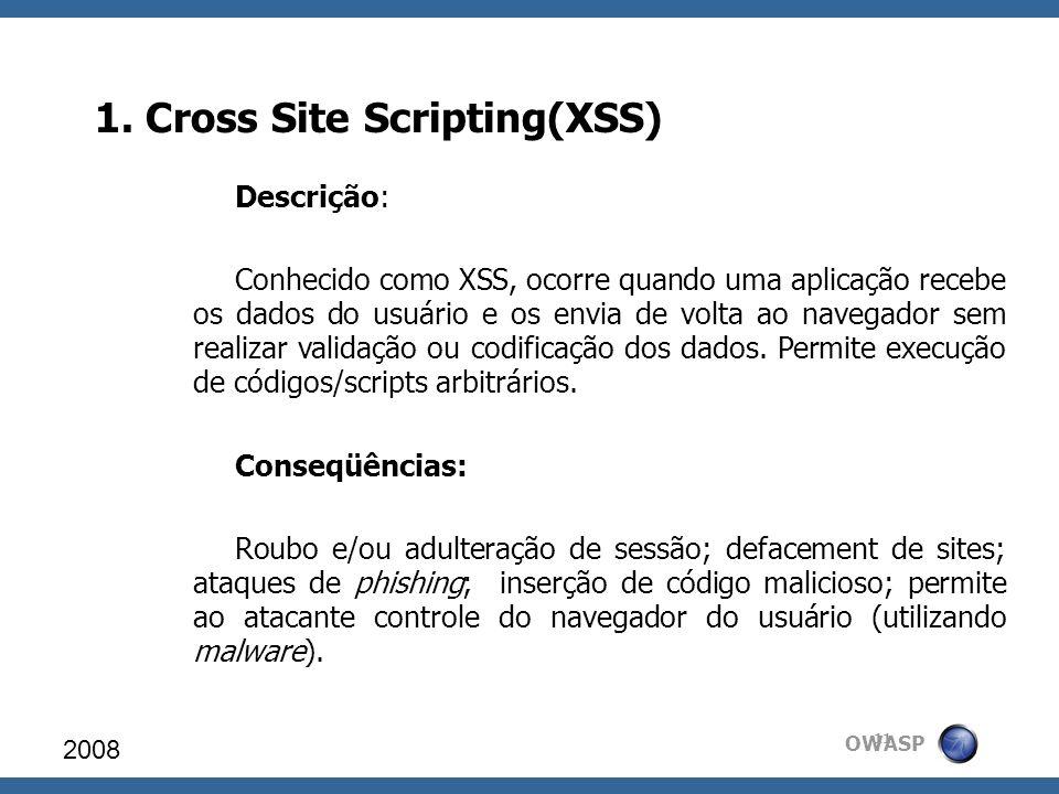 OWASP 1. Cross Site Scripting(XSS) 2008 11 Descrição: Conhecido como XSS, ocorre quando uma aplicação recebe os dados do usuário e os envia de volta a