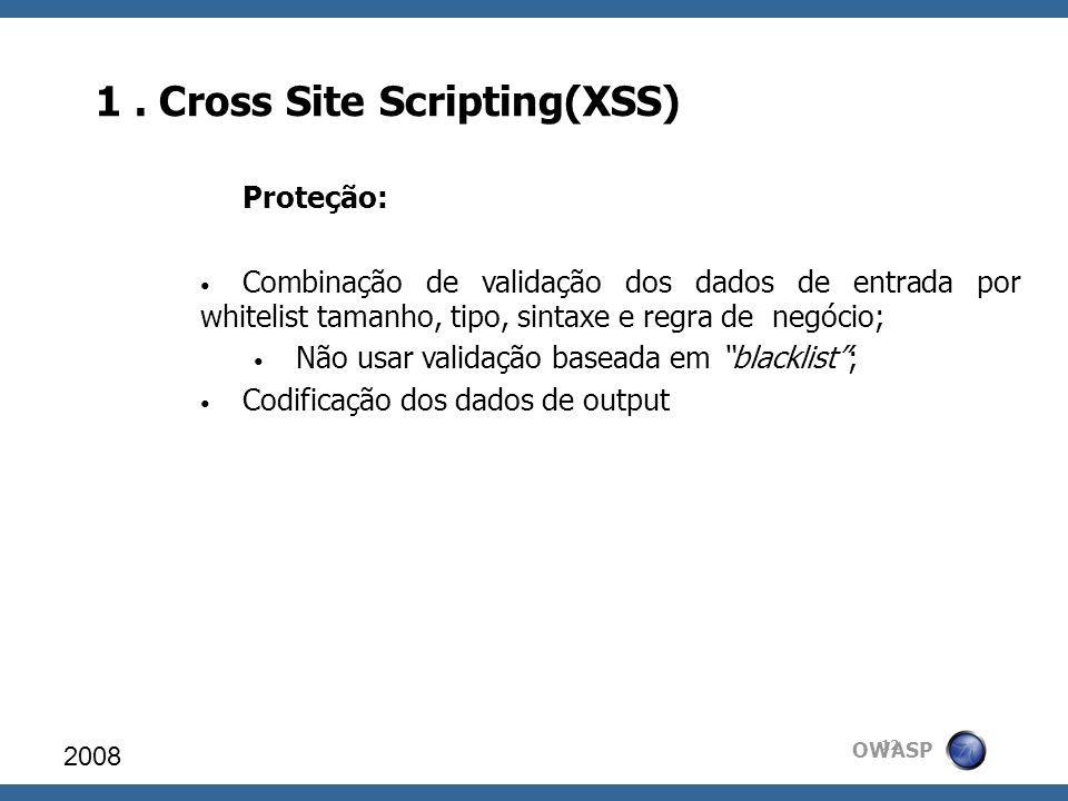 OWASP 1. Cross Site Scripting(XSS) 2008 12 Proteção: Combinação de validação dos dados de entrada por whitelist tamanho, tipo, sintaxe e regra de negó