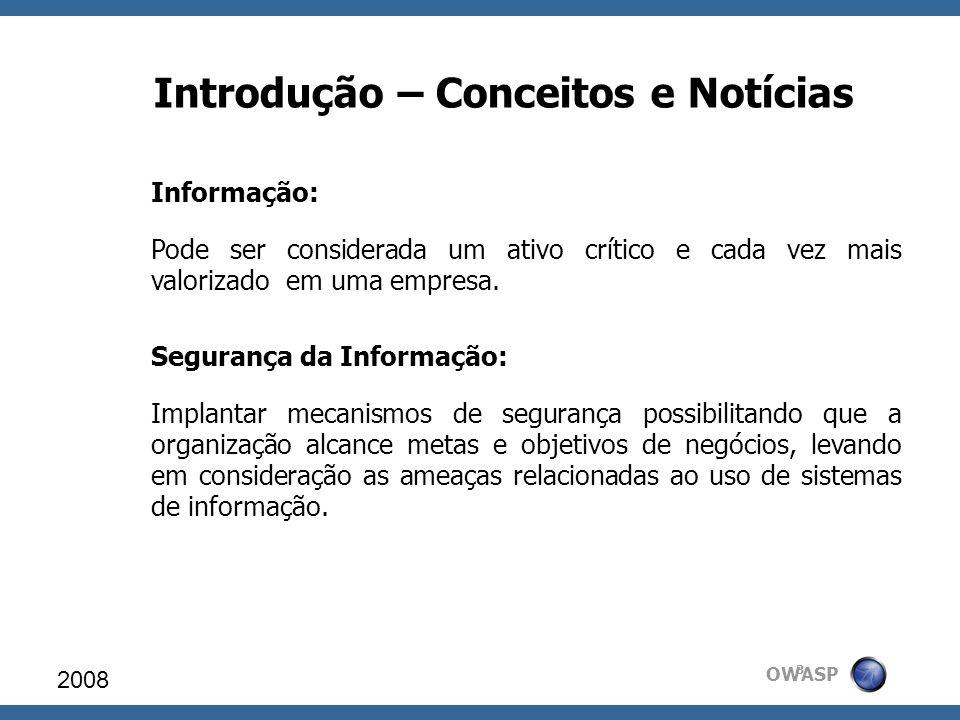 OWASP Introdução – Conceitos e Notícias Informação: Pode ser considerada um ativo crítico e cada vez mais valorizado em uma empresa. Segurança da Info