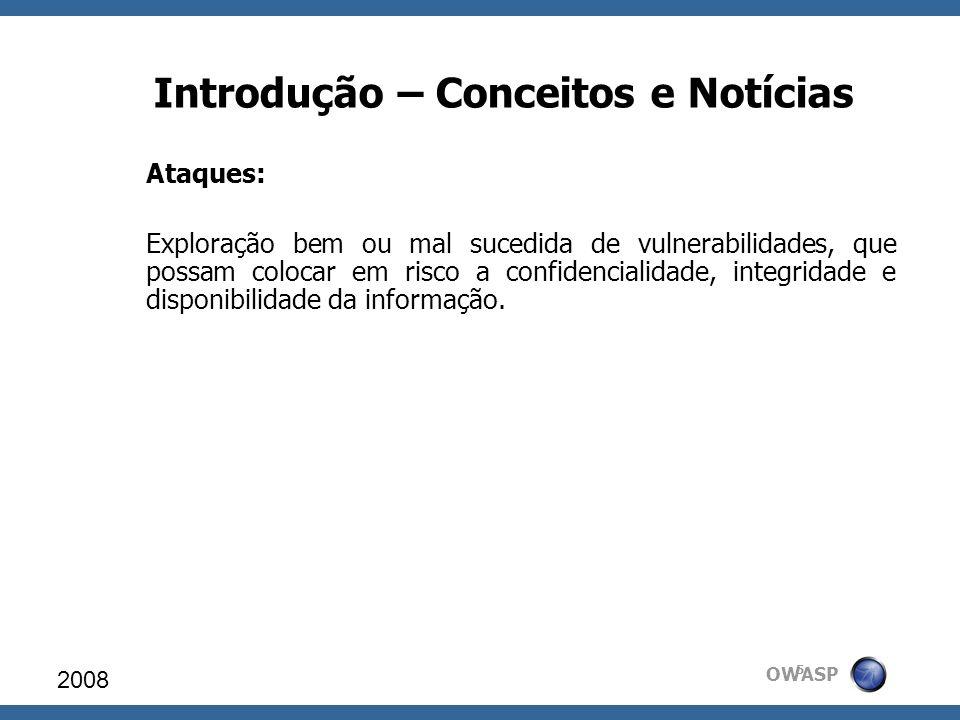 OWASP Introdução – Conceitos e Notícias Ataques: Exploração bem ou mal sucedida de vulnerabilidades, que possam colocar em risco a confidencialidade,