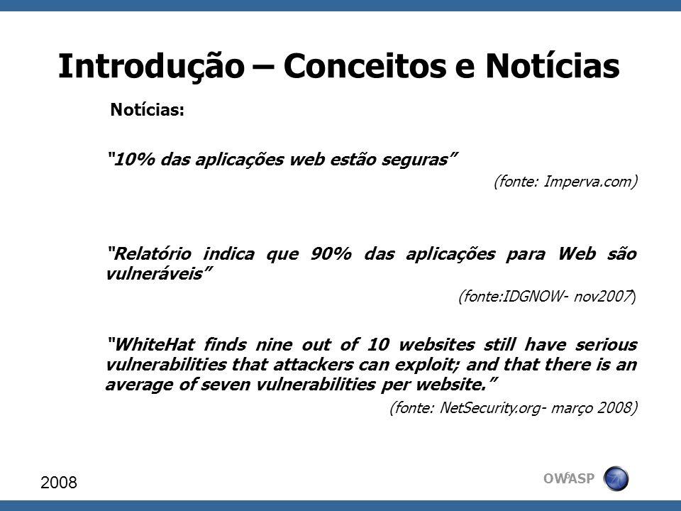 OWASP Introdução – Conceitos e Notícias Notícias: 10% das aplicações web estão seguras (fonte: Imperva.com) Relatório indica que 90% das aplicações pa