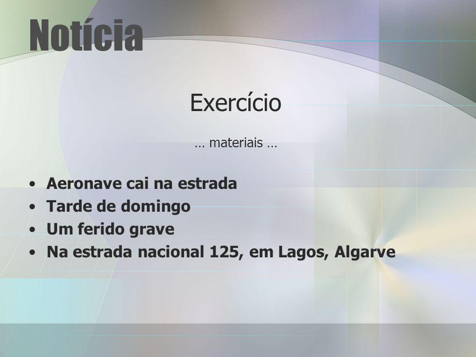 Notícia Exercício … materiais … Aeronave cai na estrada Tarde de domingo Um ferido grave Na estrada nacional 125, em Lagos, Algarve