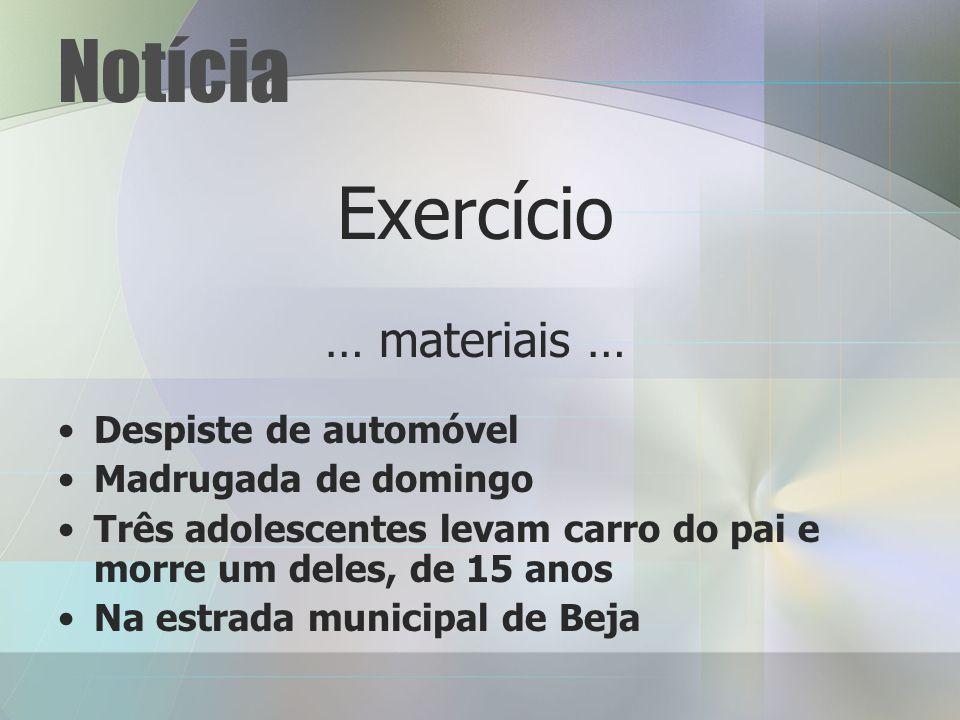 Notícia Exercício … materiais … Despiste de automóvel Madrugada de domingo Três adolescentes levam carro do pai e morre um deles, de 15 anos Na estrada municipal de Beja