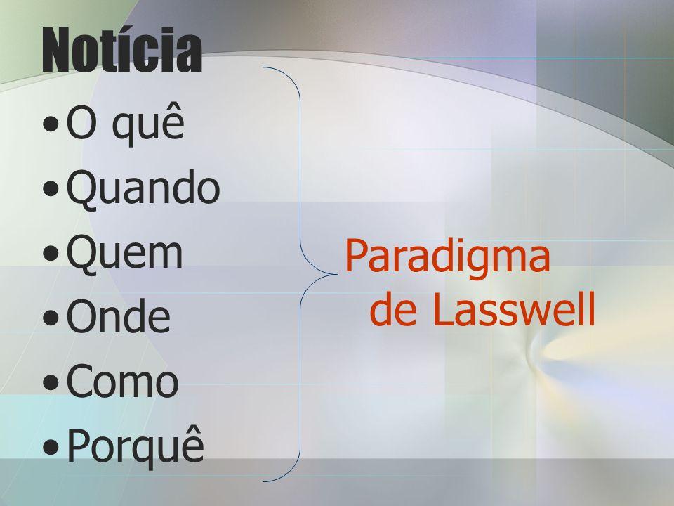 Notícia O quê Quando Quem Onde Como Porquê Paradigma de Lasswell