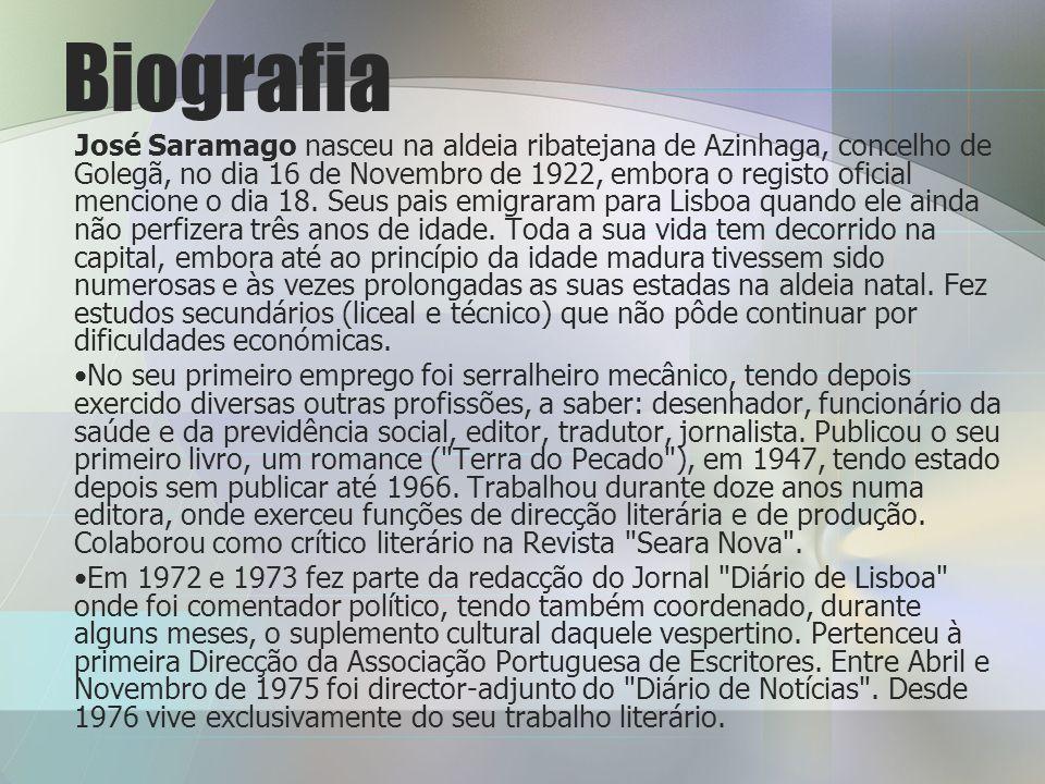 Biografia José Saramago nasceu na aldeia ribatejana de Azinhaga, concelho de Golegã, no dia 16 de Novembro de 1922, embora o registo oficial mencione o dia 18.