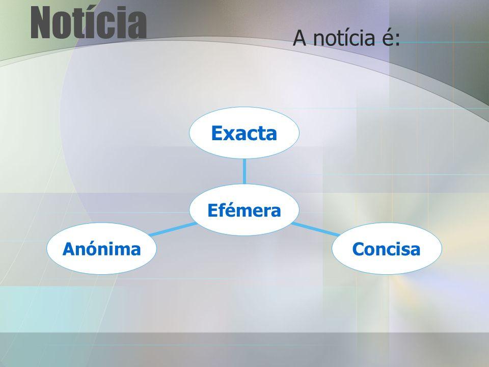 Notícia A notícia é: Efémera ExactaConcisaAnónima