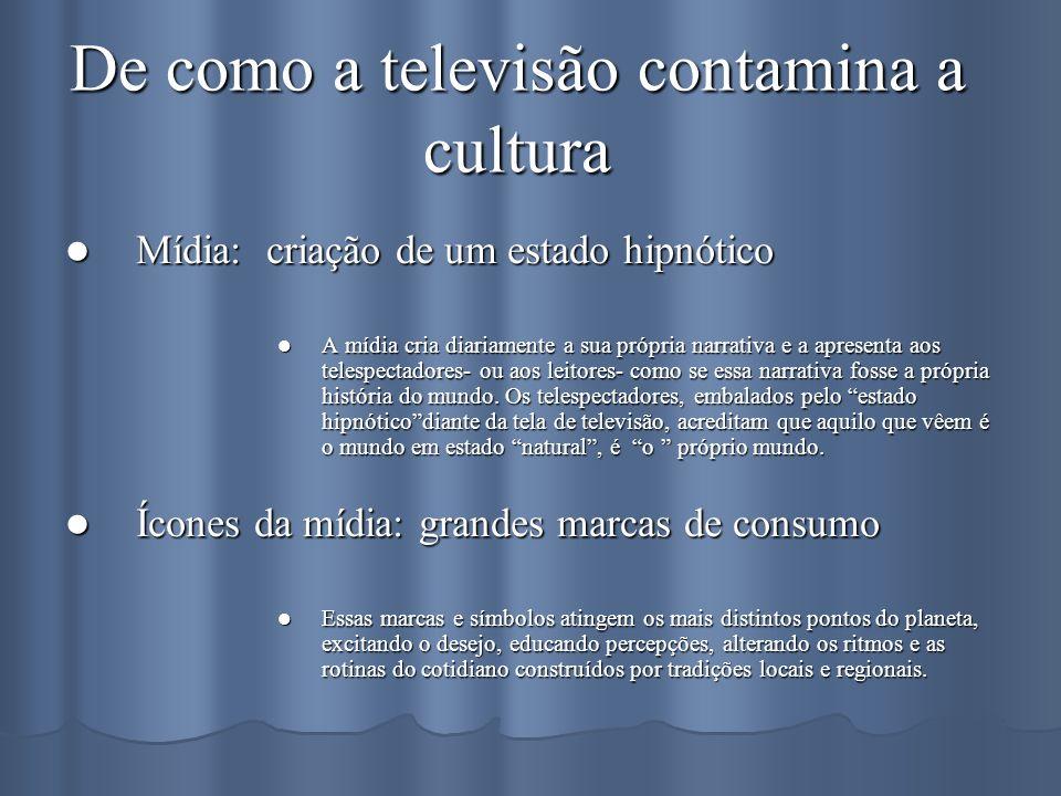 De como a televisão contamina a cultura Mídia: criação de um estado hipnótico Mídia: criação de um estado hipnótico A mídia cria diariamente a sua pró