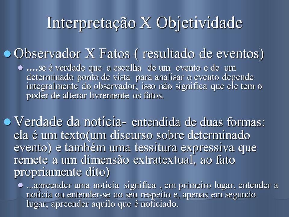 Interpretação X Objetividade Observador X Fatos ( resultado de eventos) Observador X Fatos ( resultado de eventos).... se é verdade que a escolha de u