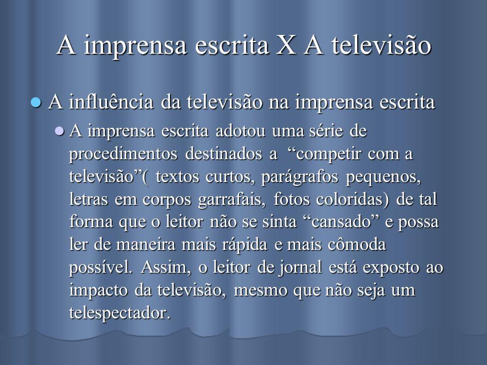 A imprensa escrita X A televisão A influência da televisão na imprensa escrita A influência da televisão na imprensa escrita A imprensa escrita adotou